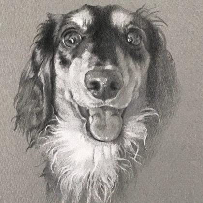 笑顔のダックスフントのペットアート