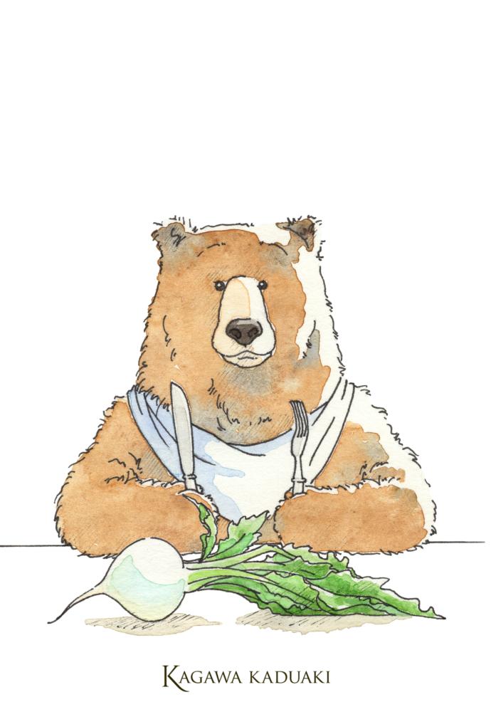 クマさんのイラストはカブです。