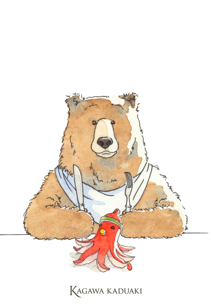 イラストレーター香川かづあきが仕事の合間の息抜きで描くイタズラ書き。今日のイラストはタコウィンナーです。