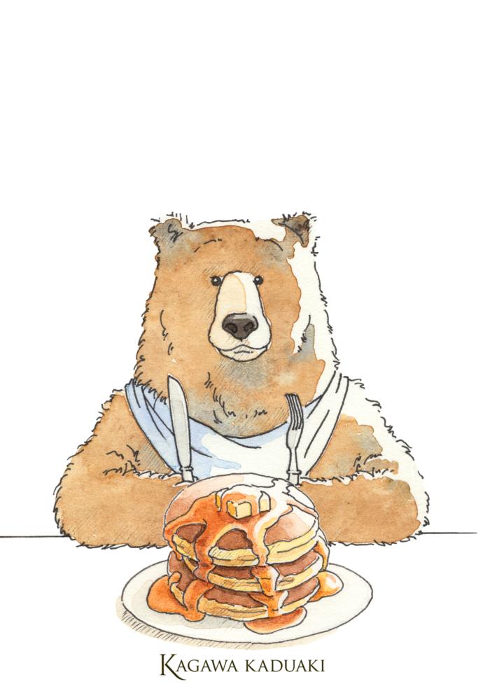 イラストのクマさんが食べるホットケーキ。
