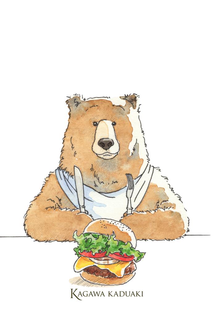 ハンバーガーを食べようとしているイラストのクマさん。