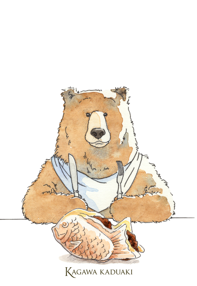 イラストレーターの香川かづあきが仕事の合間の息抜きに毎日更新するクマさんのイタズラ描き、今日はたいやきです。