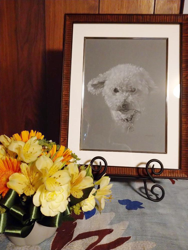 お客様から送って頂いた、ご自宅に飾ったくるみちゃんのペットの似顔絵作品